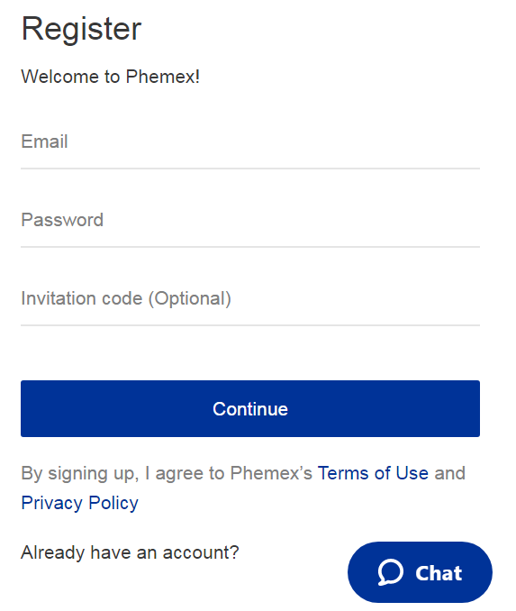 Phemex login process