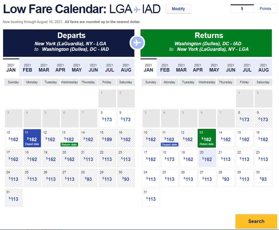 Low airfare calendar