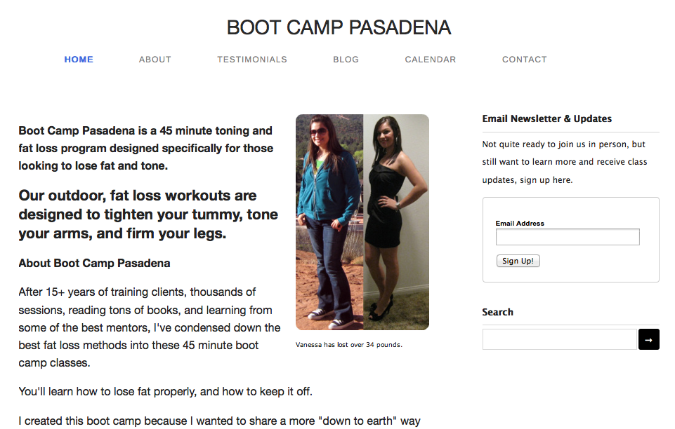 boot camp homepage