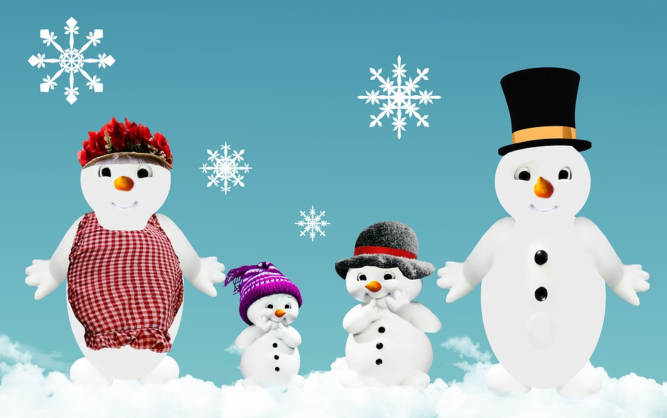 Winter, Snow Man, Family, ...