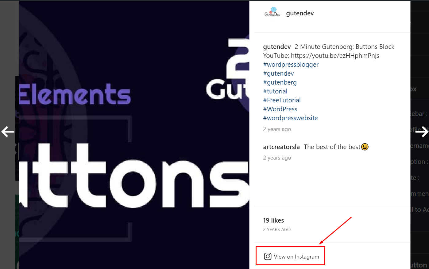 Instagram display call to action button