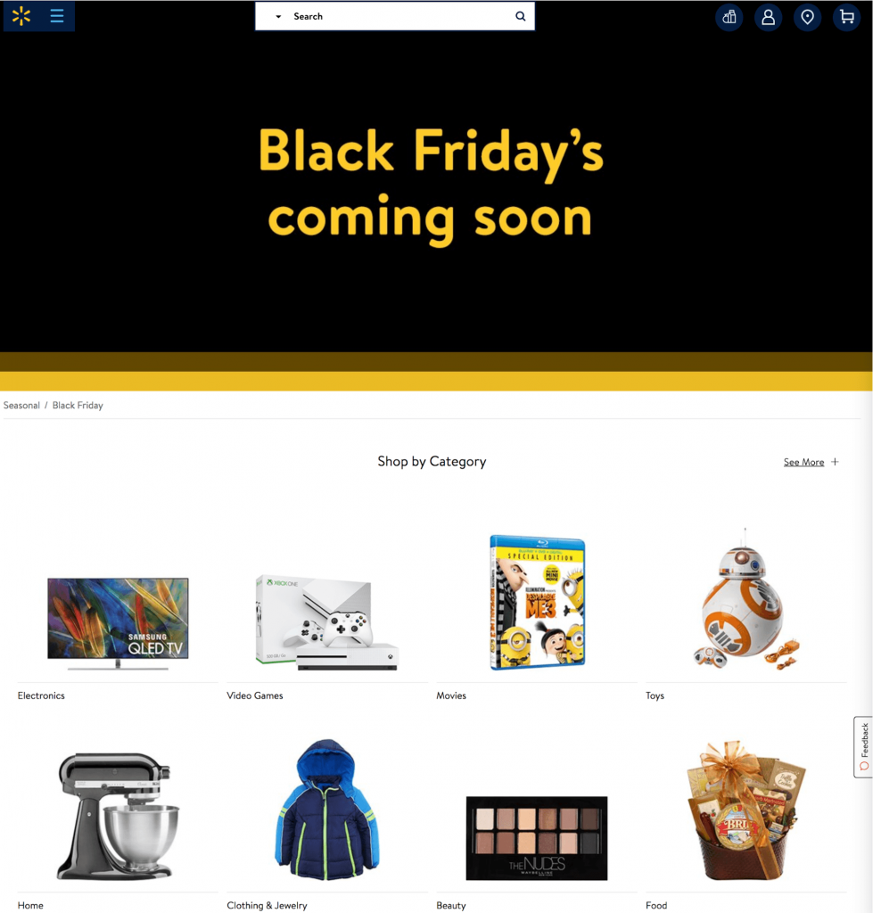 Walmart's Black Friday landing page