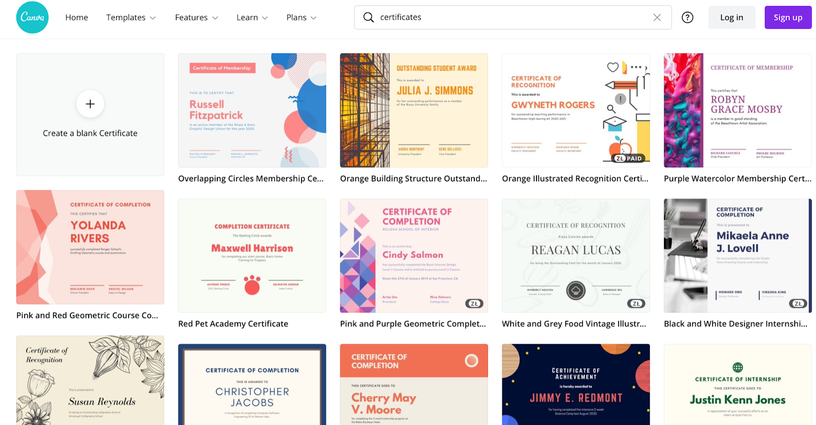 Canva templates and drag and drop design tools for certificates
