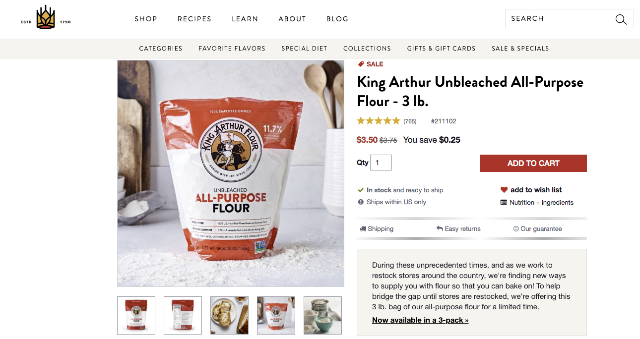 king arthur product page cx