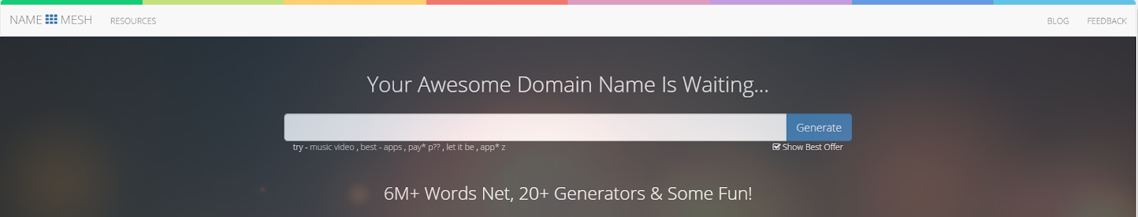 Namemesh homepage