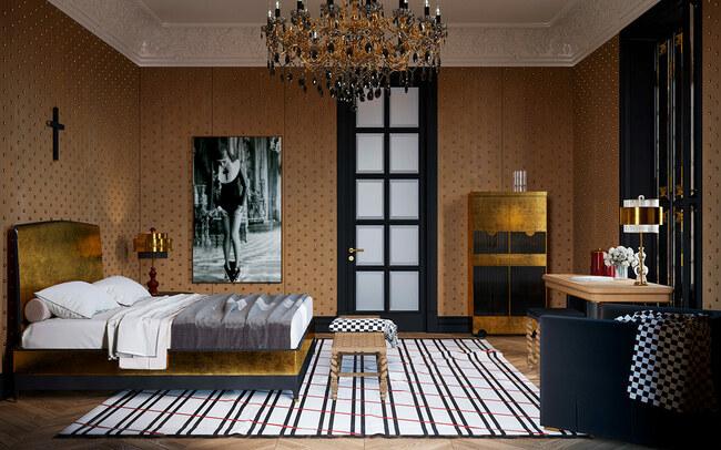 Phòng ngủ được đính vàng xung quanh căn phòng, cùng chiếc đèn chùm nổi bật làm từ vàng và thạch anh đen.
