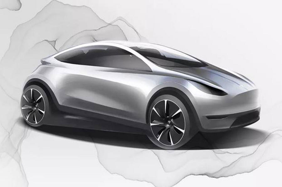 A preliminary sketch of the compact and affordable electric car model from Tesla posted in January 2020.