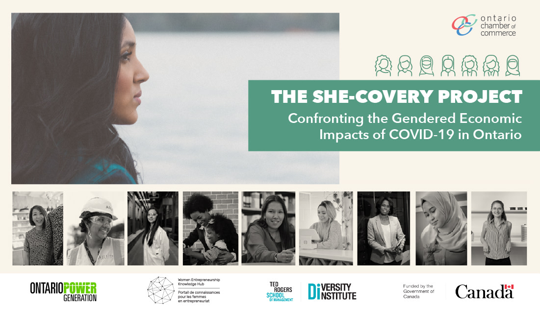 """A graphic reading, """"The She-Covery Project: Confronting the Gendered Economic Impacts of COVID-19 in Ontario"""" with photographs of diverse women."""