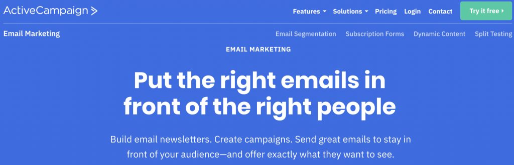 ActiveCampaign email marketing service landing page