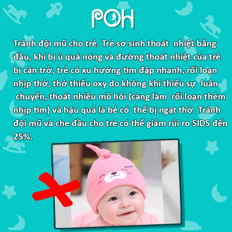 Tránh đội mũ cho trẻ khi ngủ