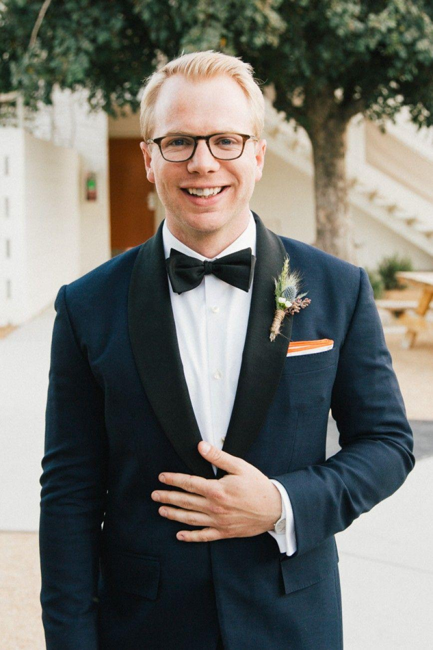 Navy tux, black bow tie, and a pop of color with the pocket square at Cindy  & Hals Ace Hotel Palm Springs W… | Ace hotel palm springs, Groom and  groomsmen, Navy