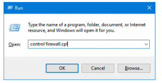 Hit Windows+R to open control firewall.cpl