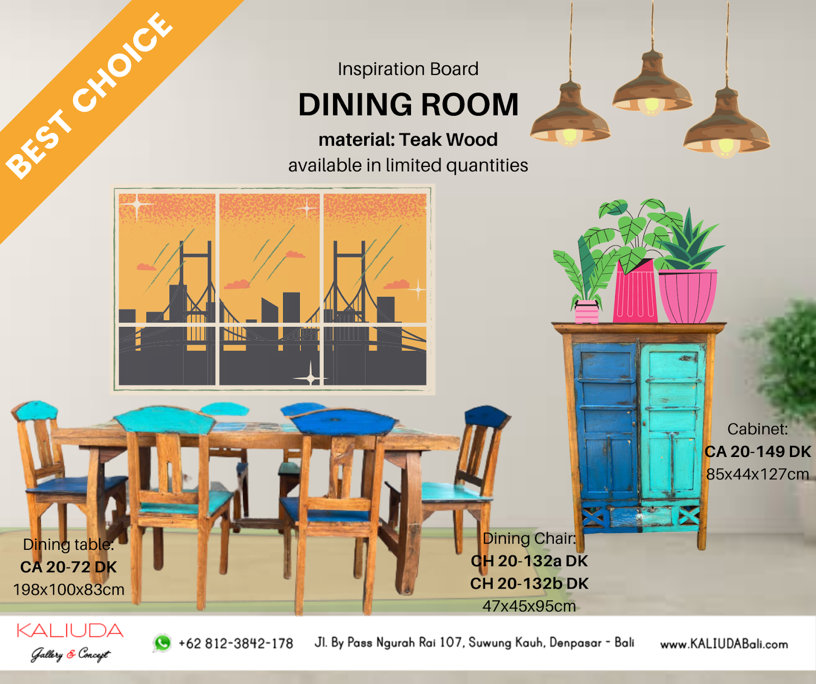 Inspiration Board by Kaliuda Gallery Bali Dining Room with 1 dining table, 6 chairs, and 1 cabinet