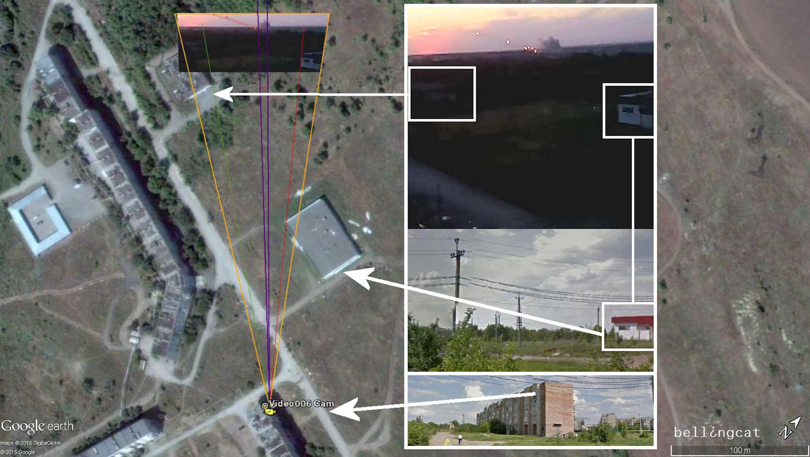 Camera location of Video006 –dark purple lines show the direction of the firing position
