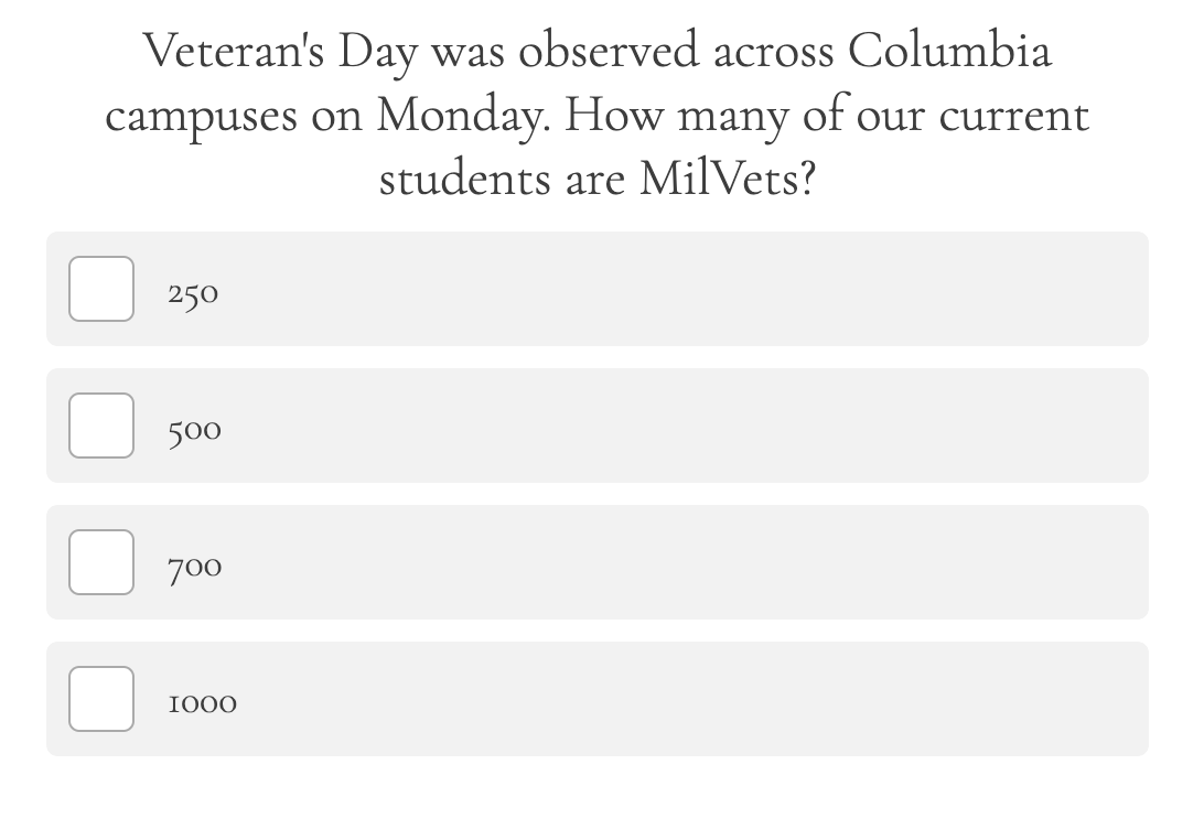 weekly college quiz about campus trivia question