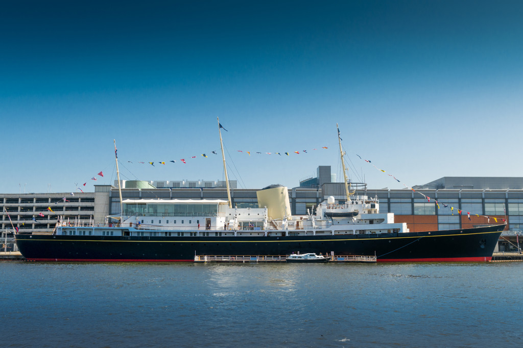 side view of the royal yacht britannia blue skies