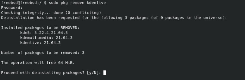 Remove Kdenlive package on FreeBSD. Source: nudesystems.com