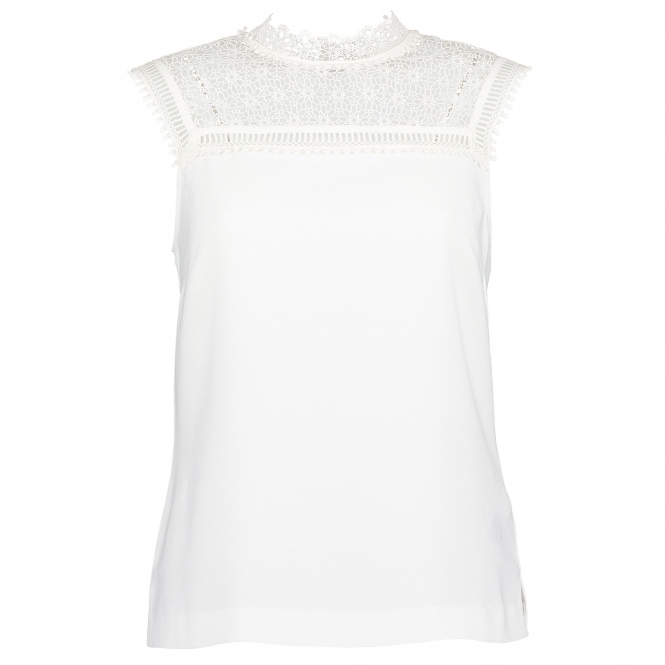 TED BAKER Clairy Lace Detail Ruffle Top