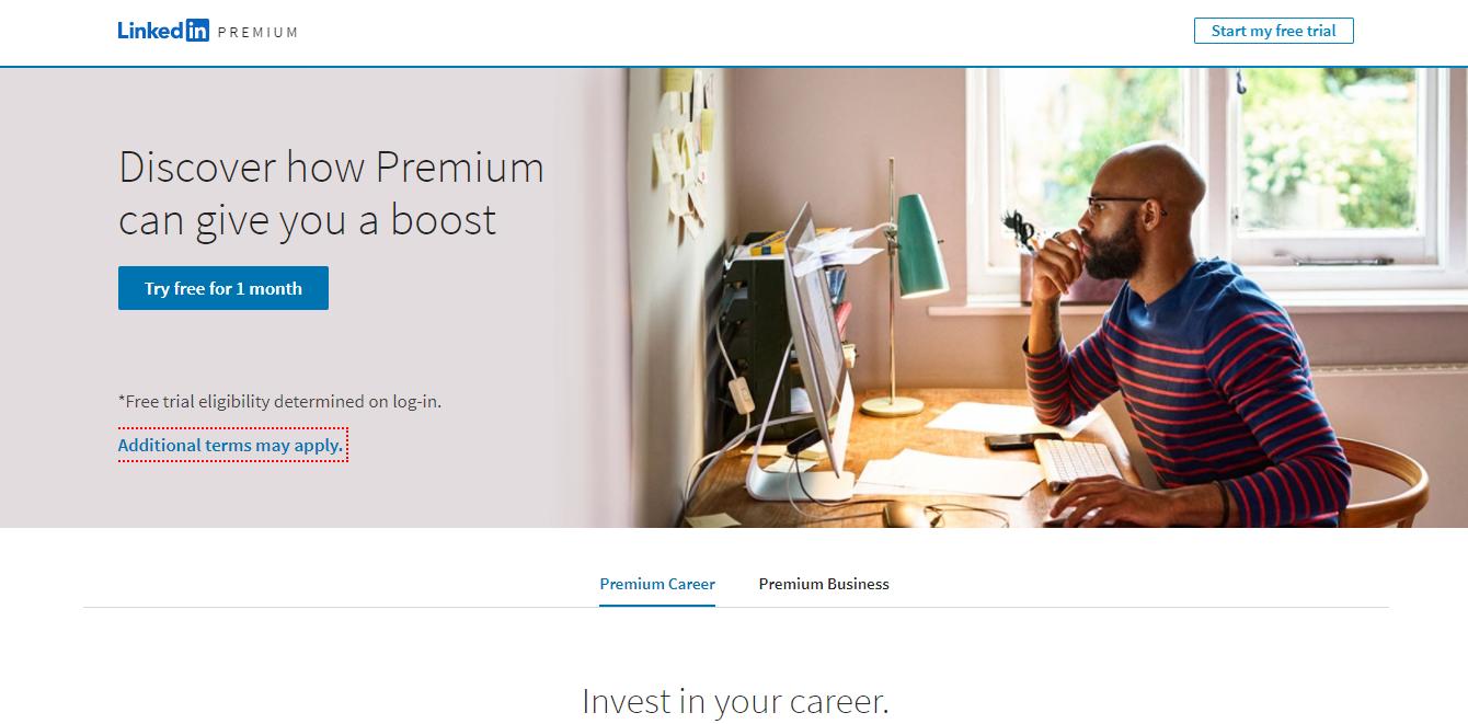 linkedin premium account page