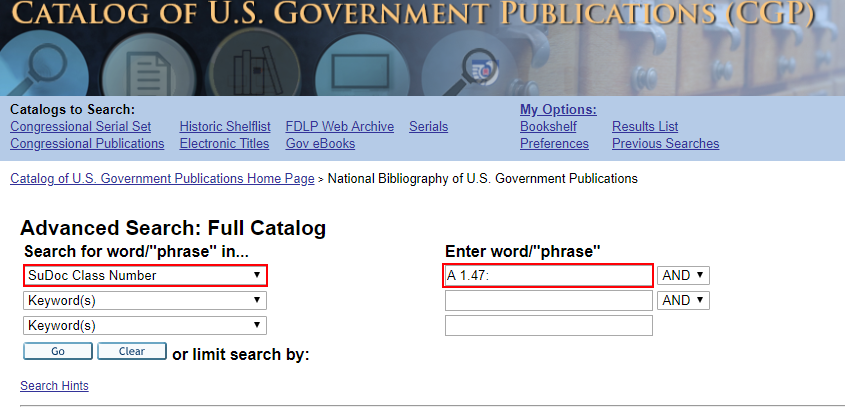 """""""SuDoc Class Number"""" option selected within """"Search for word/'phrase' in..."""" and """"A 1.7:"""" typed in the search bar"""