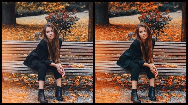 Montagem de uma mulher sentada em um banco, em um dia de outono mostrando a ferramenta Onyx do AirBrush.