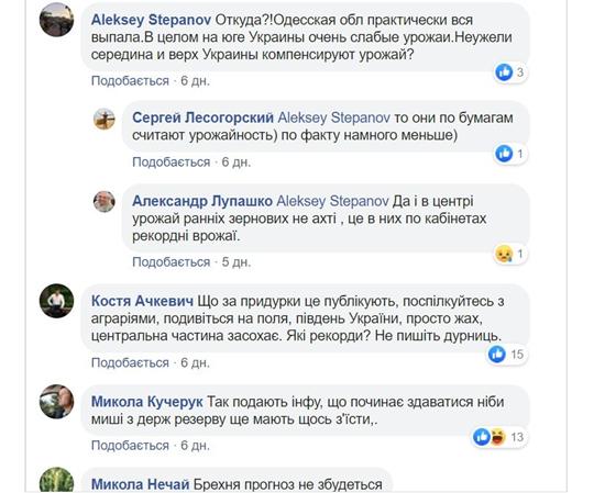 Реакція користувачів фейсбук на прогнози Української зернової асоціації