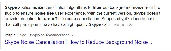 Skype audio filtering algorhithm