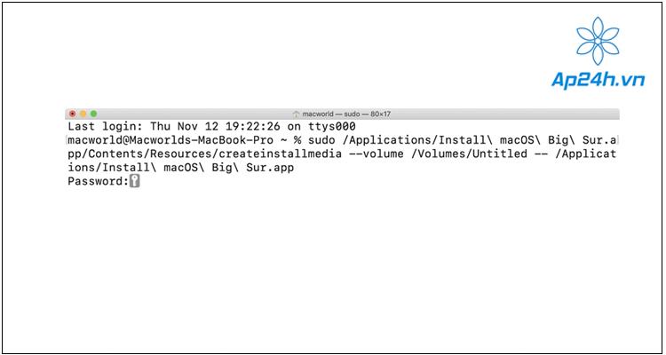 macOS Big Sur trên ổ cứng bằng Terminal