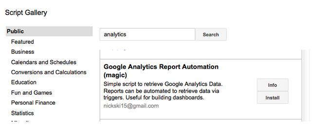 Tự động hóa báo cáo Google Analytics (Magic) trong Thư viện tập lệnh