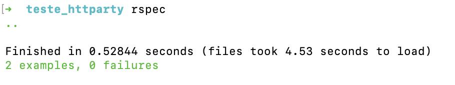 A imagem exibe a saída do terminal com a quantidade de testes executados, tempo de execução e resultado.