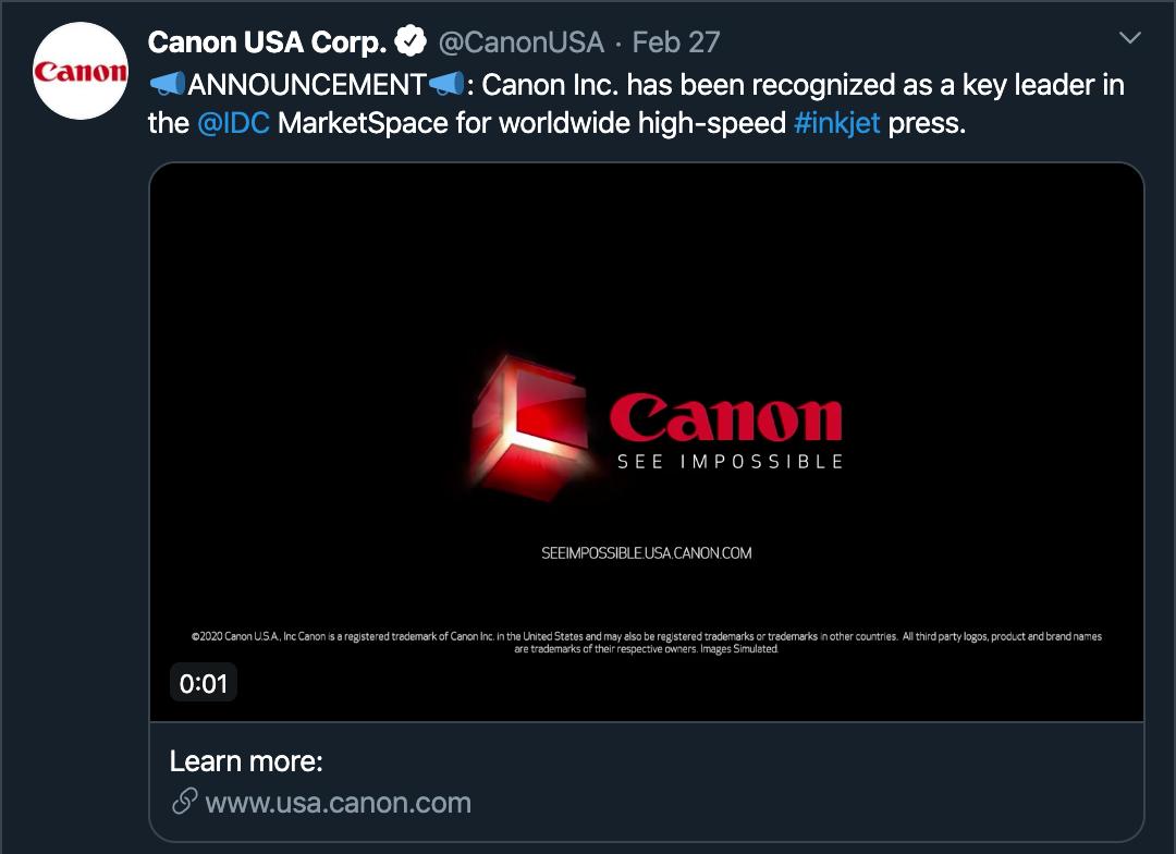 Canon Tweet