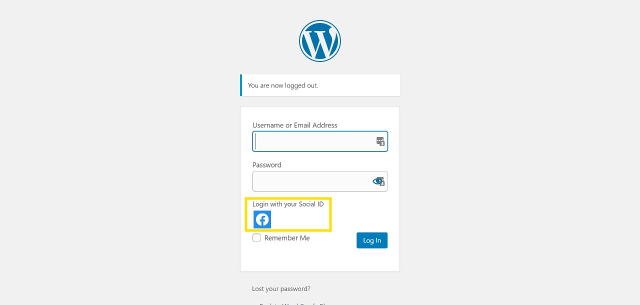 Image of WordPress login page, you'll need to login and log back out to process changes