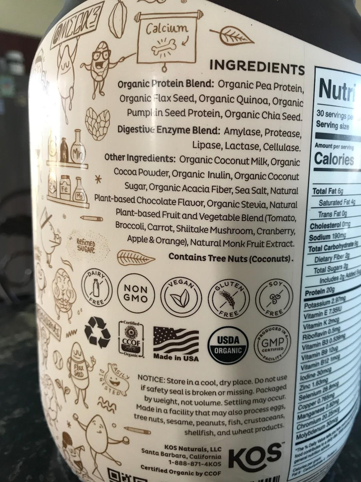 KOS Plant Protein ingredients list.
