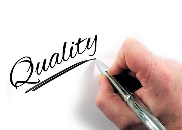 Writing the word quality to point to it's impact on brand building.