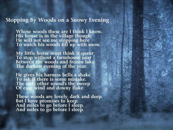 an analysis of inspirational quote from stopping by woods on a snowy evening by robert frost and mil The hollywood reporter is your source for breaking news about hollywood and entertainment, including movies, tv, reviews and industry blogs.