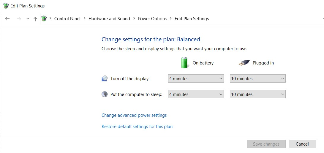 Plan Settings page in the Windows Control Panel
