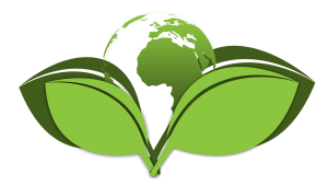 An illustration of earth coming out between two leaves.