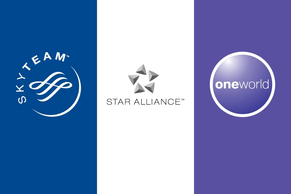 Logos of three global airline alliances: Sky Team, Star Alliance, and OneWorld