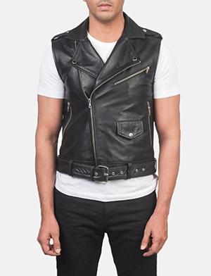 Sullivan Black Leather Biker Vest