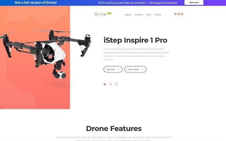 лучший бесплатный шаблон темы ботстрапа веб-сайт дрон фотография видео технология