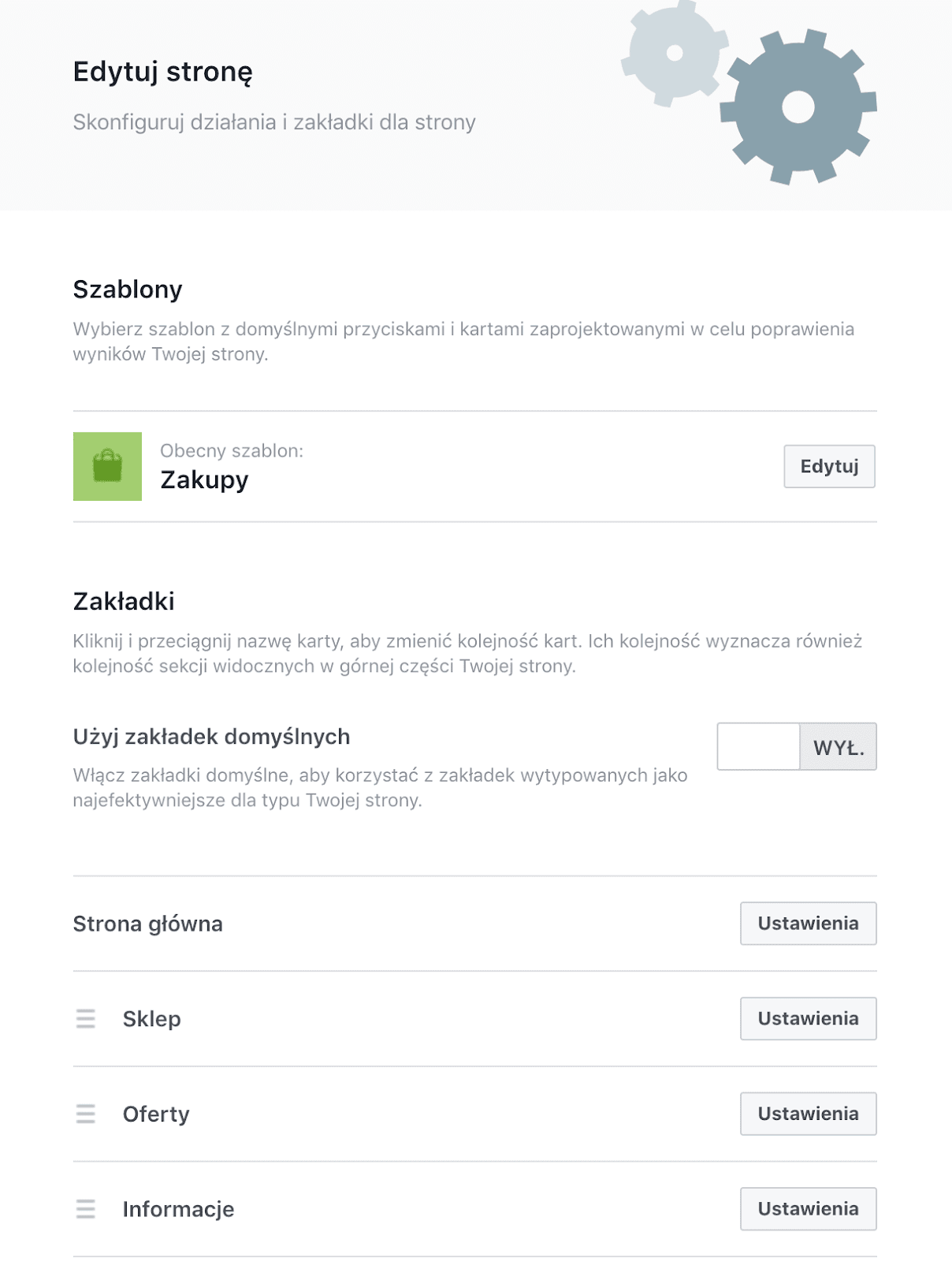 konfiguracja ustawień strony Facebook