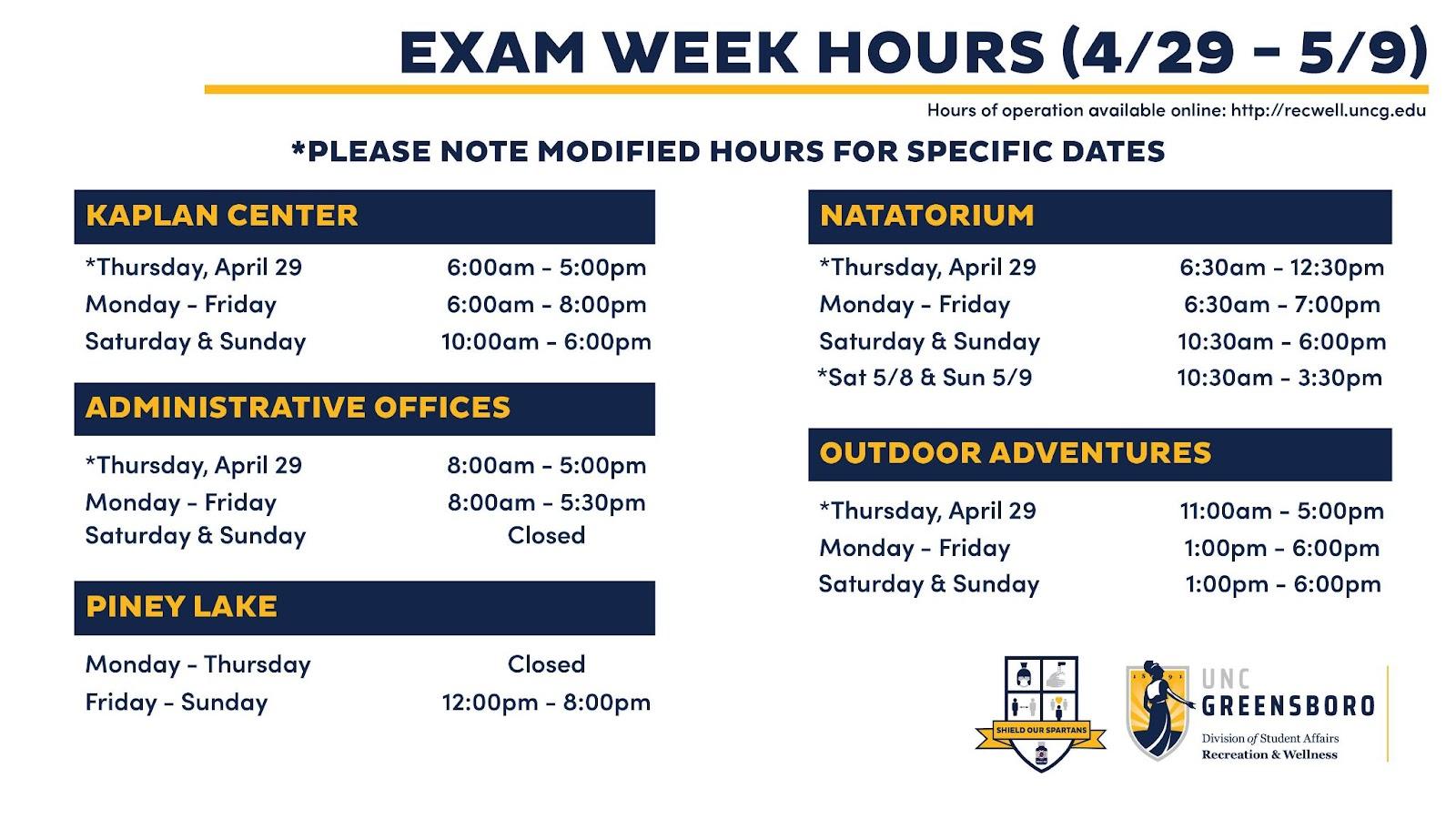 Uncg Spring 2022 Calendar.Alert Adjusted Hours Exam Week Uncg Recreation Wellness
