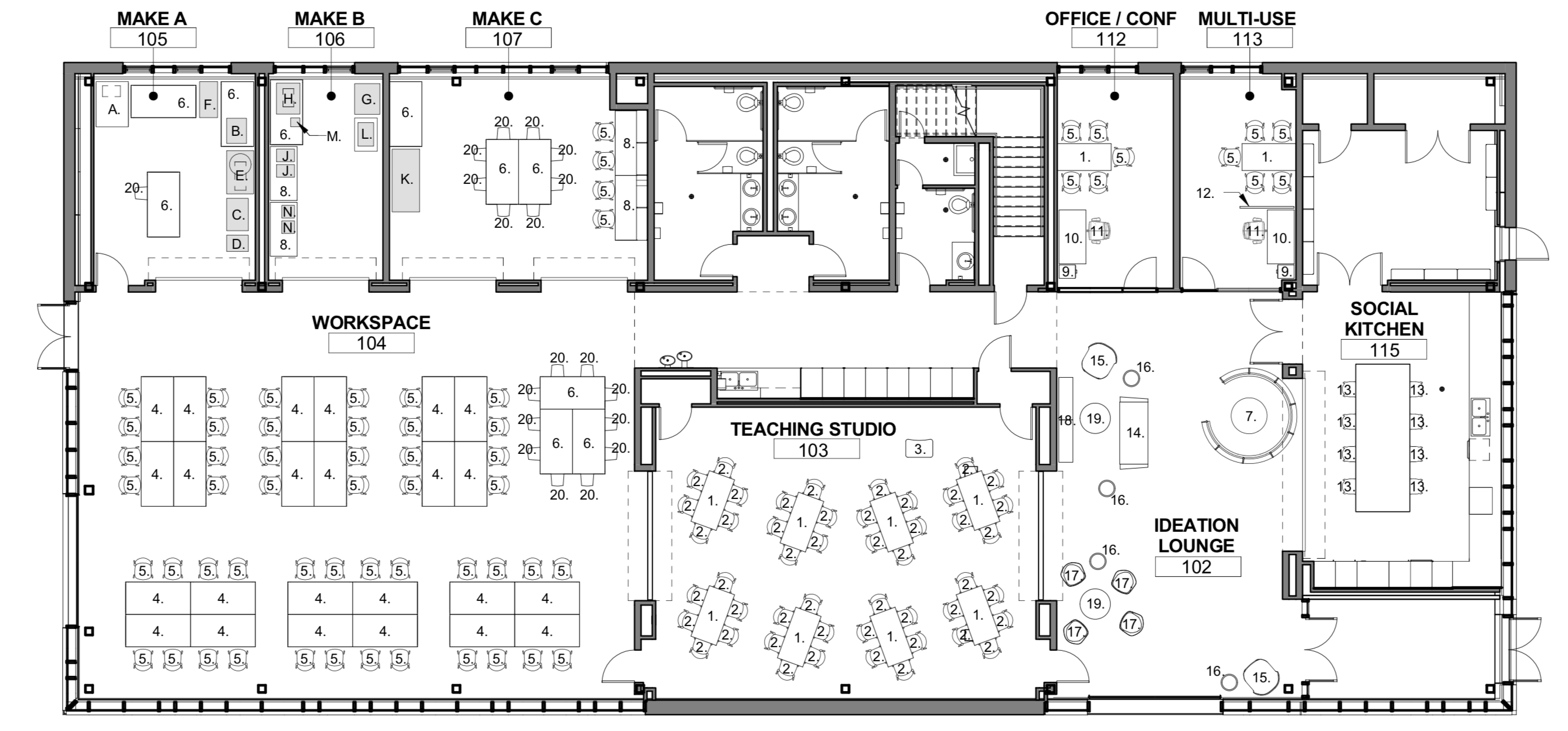 Bookable spaces are: Social Kitchen (up to 15), Ideation Lounge (up to 25), Teaching Studio (up to 45), and Office/Conf. (up to 8).  These spaces may be combined into a single reservation. It is not possible to book the WorkSpace or the Make studios and those spaces may be in use by students at all times.