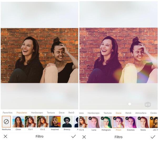 Foto de duas amigas sentadas sendo editada pelo AirBrush com o Filtro Prism