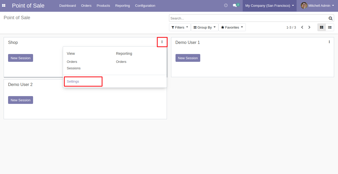 Navigate to the settings to configure the contacts for POS.