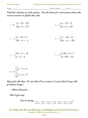 Writing systems of equations homework answers