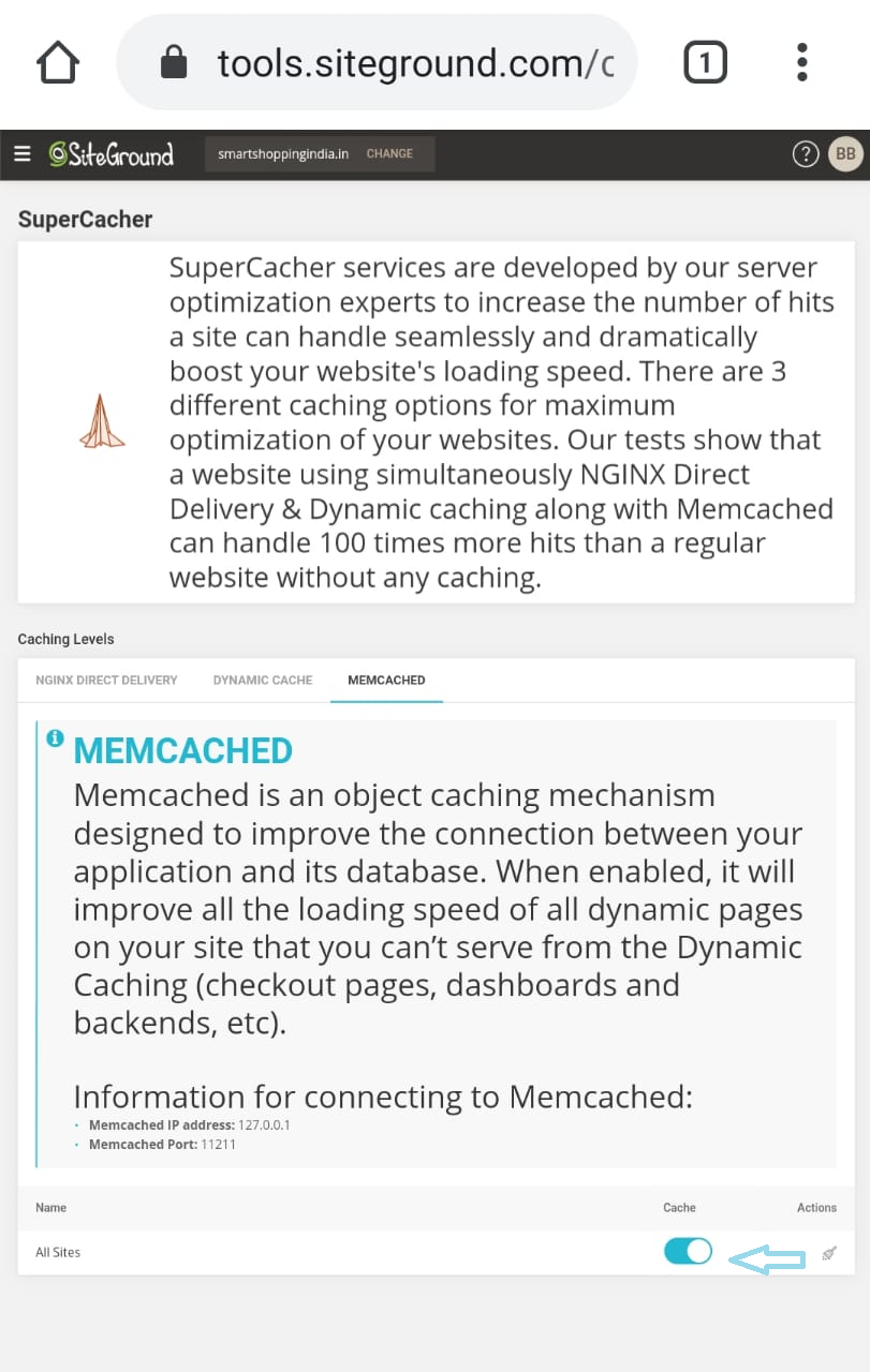how to enable memcache in SiteGround