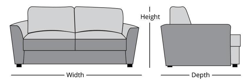 ตัวอย่างรูปภาพ การวัดขนาดโซฟา