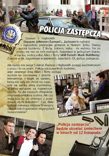 Tył ulotki filmu 'Policja Zastępcza'