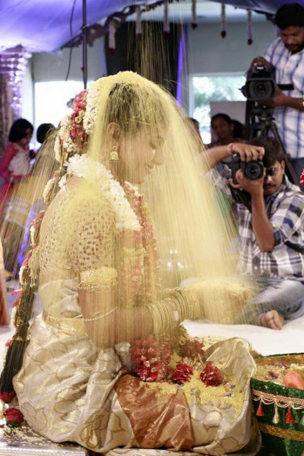 rice showered on bride